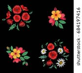 set of colorful ethnic floral... | Shutterstock .eps vector #684197416