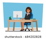business women people  desk... | Shutterstock .eps vector #684202828