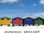 colorful beach houses on... | Shutterstock . vector #684211609
