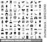 100 medical checkup icons set ... | Shutterstock .eps vector #684212440