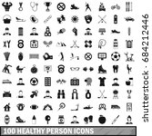 100 healthy person icons set ...   Shutterstock .eps vector #684212446