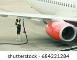 refueling of the aircraft at... | Shutterstock . vector #684221284