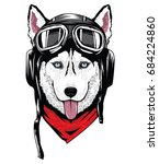 siberian husky using helmet | Shutterstock .eps vector #684224860
