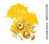 italian pasta and spaghetti... | Shutterstock .eps vector #684225238