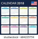 usa calendar for 2018.... | Shutterstock .eps vector #684225754