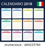 italian calendar for 2018.... | Shutterstock .eps vector #684225784