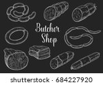 butchery sausages chalk sketch. ... | Shutterstock .eps vector #684227920