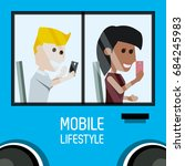 people seated in the bus with... | Shutterstock .eps vector #684245983