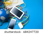 tablet and mobile phone with... | Shutterstock . vector #684247720