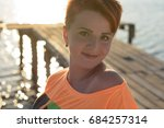 red haired teenager girl with... | Shutterstock . vector #684257314