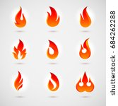 raster version. fire icons set. ... | Shutterstock . vector #684262288