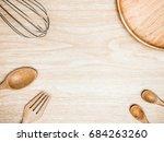 utensil kitchen wooden and... | Shutterstock . vector #684263260