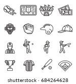 baseball icon set. line style... | Shutterstock .eps vector #684264628