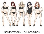 types of female bodies. five... | Shutterstock .eps vector #684265828