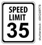 speed limit 35 mph sign... | Shutterstock .eps vector #684268978