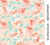 cute pastel watercolor painted... | Shutterstock . vector #684269464