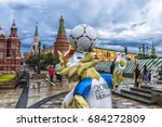 Small photo of MOSCOW, RUSSIA - 22.06.2017 The official mascot of the 2018 FIFA World Cup and the FIFA Confederations Cup 2017 wolf Zabivaka at the Manege Square in Moscow.