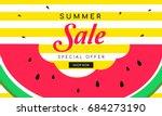 summer sale banner vector... | Shutterstock .eps vector #684273190