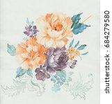 leaves  flowers  watercolor ... | Shutterstock . vector #684279580