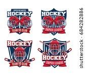 set of ice hockey badge  logo ... | Shutterstock .eps vector #684282886