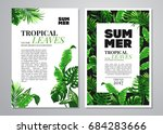 tropical palm leaves background.... | Shutterstock .eps vector #684283666