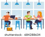 coffee shop and people in... | Shutterstock .eps vector #684288634