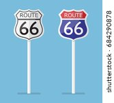 route 66 road sign set. vector...   Shutterstock .eps vector #684290878