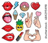 fashion patches collection with ... | Shutterstock .eps vector #684295498