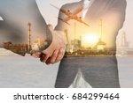 double exposure of... | Shutterstock . vector #684299464