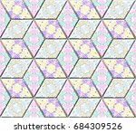 colorful seamless rhombus... | Shutterstock . vector #684309526