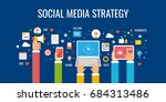 social media strategy  social... | Shutterstock .eps vector #684313486