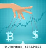 manipulation of the bitcoin... | Shutterstock .eps vector #684324838