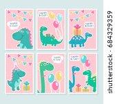 funny smiling dinos  birthday...   Shutterstock .eps vector #684329359