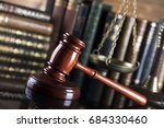 gavel  books  scales. law... | Shutterstock . vector #684330460