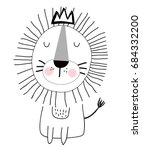 king lion hand drawing... | Shutterstock .eps vector #684332200