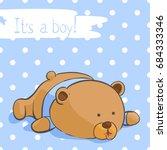 cute bear on a blue background...   Shutterstock .eps vector #684333346