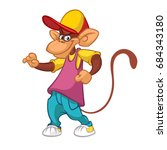 cool pretty monkey dancing in... | Shutterstock .eps vector #684343180