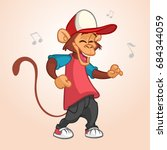 cool monkey rapper character in ...   Shutterstock .eps vector #684344059