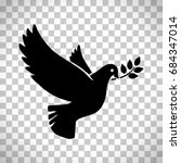 flying dove with olive twig... | Shutterstock .eps vector #684347014