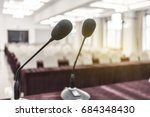microphone and lecture hall | Shutterstock . vector #684348430