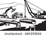 construction of above ground... | Shutterstock .eps vector #684350836