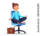 business woman meditating in... | Shutterstock .eps vector #684353380