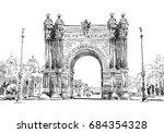 spain. barcelona. triumphal... | Shutterstock .eps vector #684354328