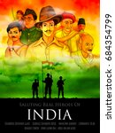 illustration of tricolor india... | Shutterstock .eps vector #684354799