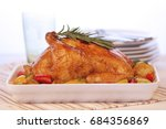 roasted chicken with vegetables ... | Shutterstock . vector #684356869
