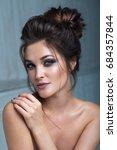beautiful model girl with... | Shutterstock . vector #684357844