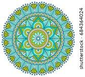 flower mandala. vintage...   Shutterstock .eps vector #684364024