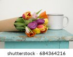 vintage spring bouquet in the... | Shutterstock . vector #684364216