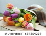 spring bouquet.flowers tulips... | Shutterstock . vector #684364219