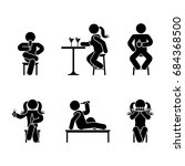 man people various sitting ... | Shutterstock . vector #684368500